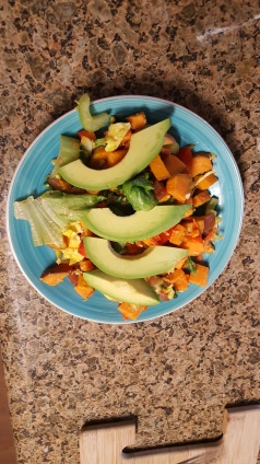 For weight loss: Still feel full with egg whites, sweet potato, greens, and avocado.
