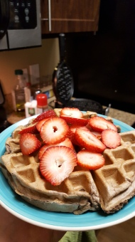 For active person: Protein waffles with strawberries.